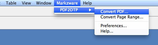 Convert PDF to InDesign Menu