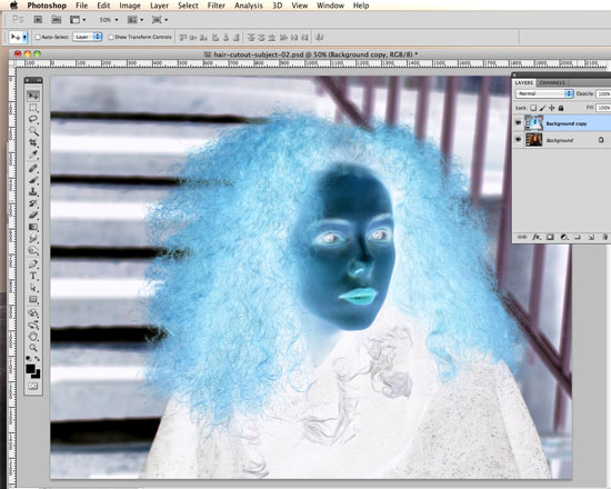 How to Cut Out Hair in Photoshop - Invert the top layer