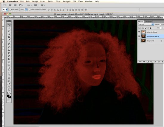 How to Cut Out Hair in Photoshop - select Linear Burn Blend Mode