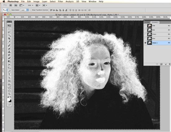 How to Cut Out Hair in Photoshop - Select the top layer