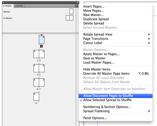 Deselect Allow Document Pages to Shuffle