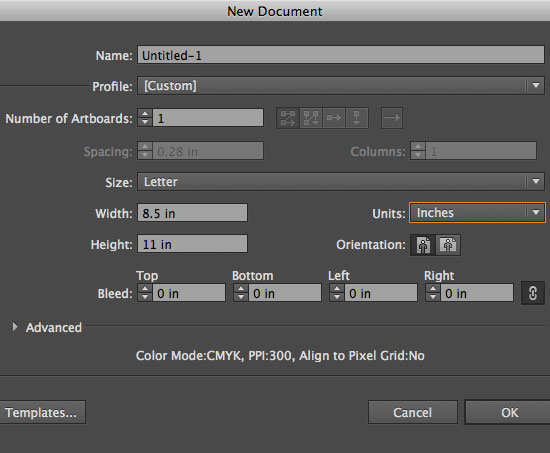 Create a new Illustrator CS6 Document