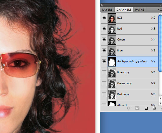 Cutting Out Hair in Photoshop - More work on the layer mask