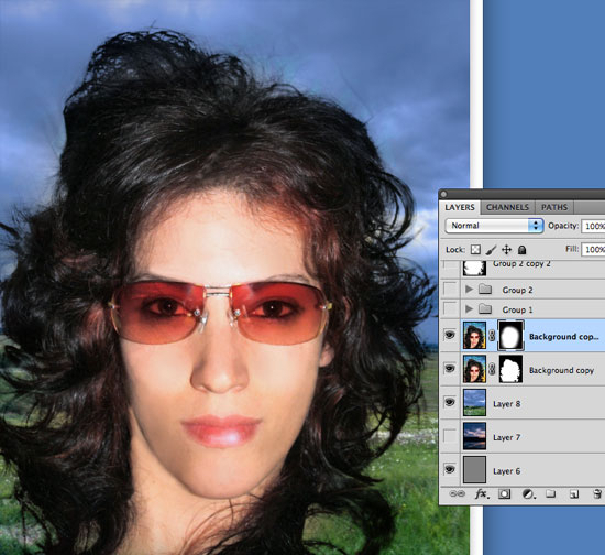 Cutting Out Hair in Photoshop - With new light background