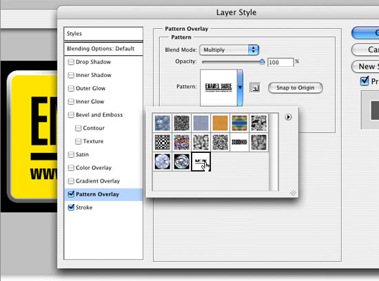 Create a layer style pattern overlay