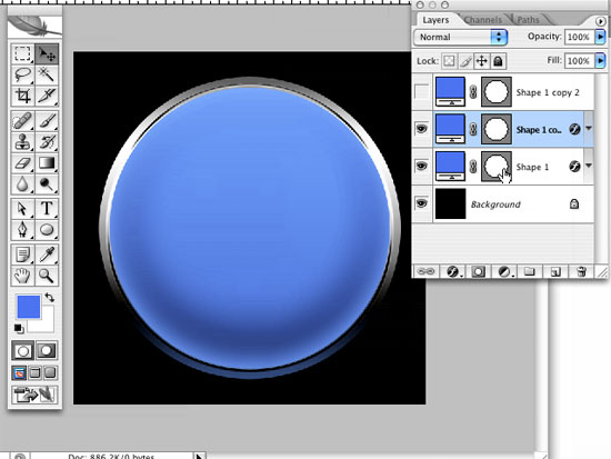 Create a Glass Photoshop Button Using Layer Styles and Shape