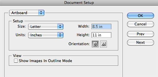 How to change document size in Illustrator CS3