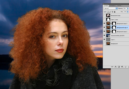 How to Cut Out Hair in Photoshop - Bring in a new background of your choice