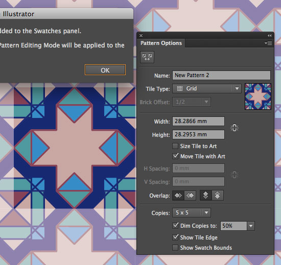 Pattern Options palette in Illustrator CS6