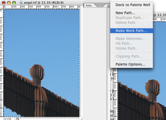 Make a work path for Photoshop Clipping Paths