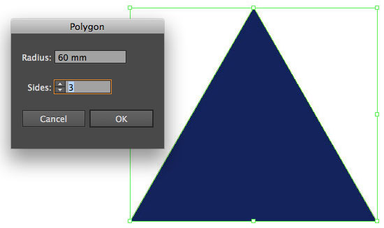Equilateral triangle created with the Illustrator Polygon Tool