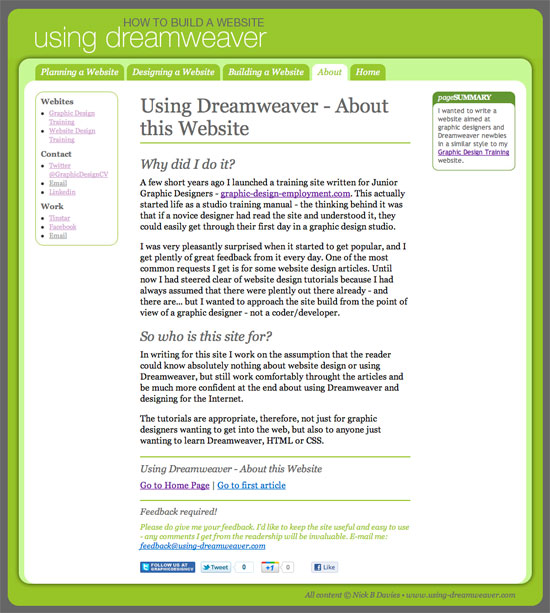Using Dreamweaver Tutorials