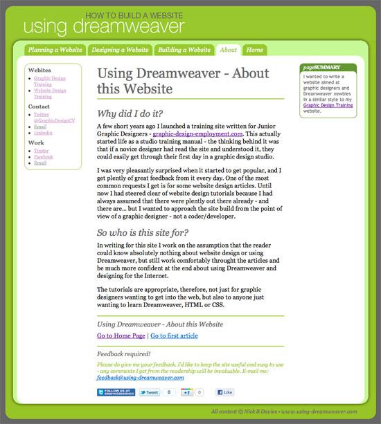 Using Dreamweaver A Website Training Site For Graphic Designers