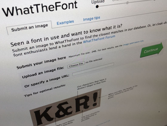 What the Font typeface recognition