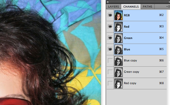 Cutting Out Hair in Photoshop - Duplicate channels