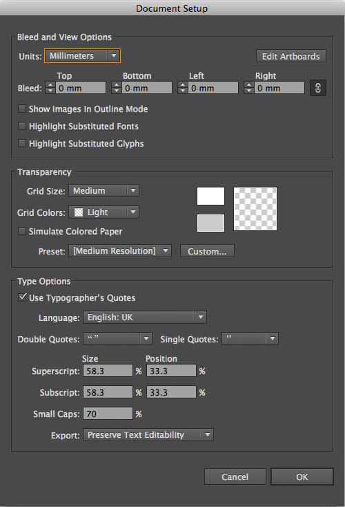How to change document size in Illustrator CS6