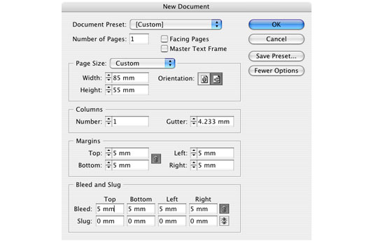 Indesign files how to set up business card layout design for press creating indesign files reheart Image collections