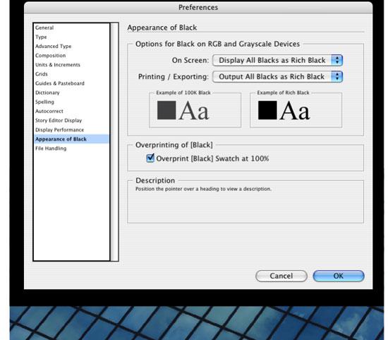 how to set overprint in indesign