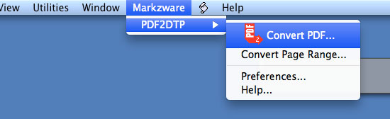 Convert PDF to Quark Menu