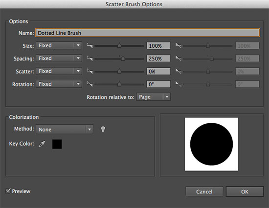Scatter Brush Options in Illustrator